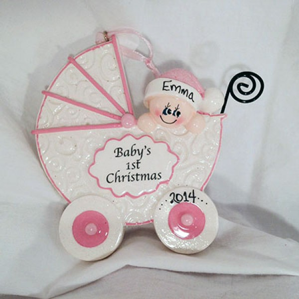 babys first christmas ornament pink buggy